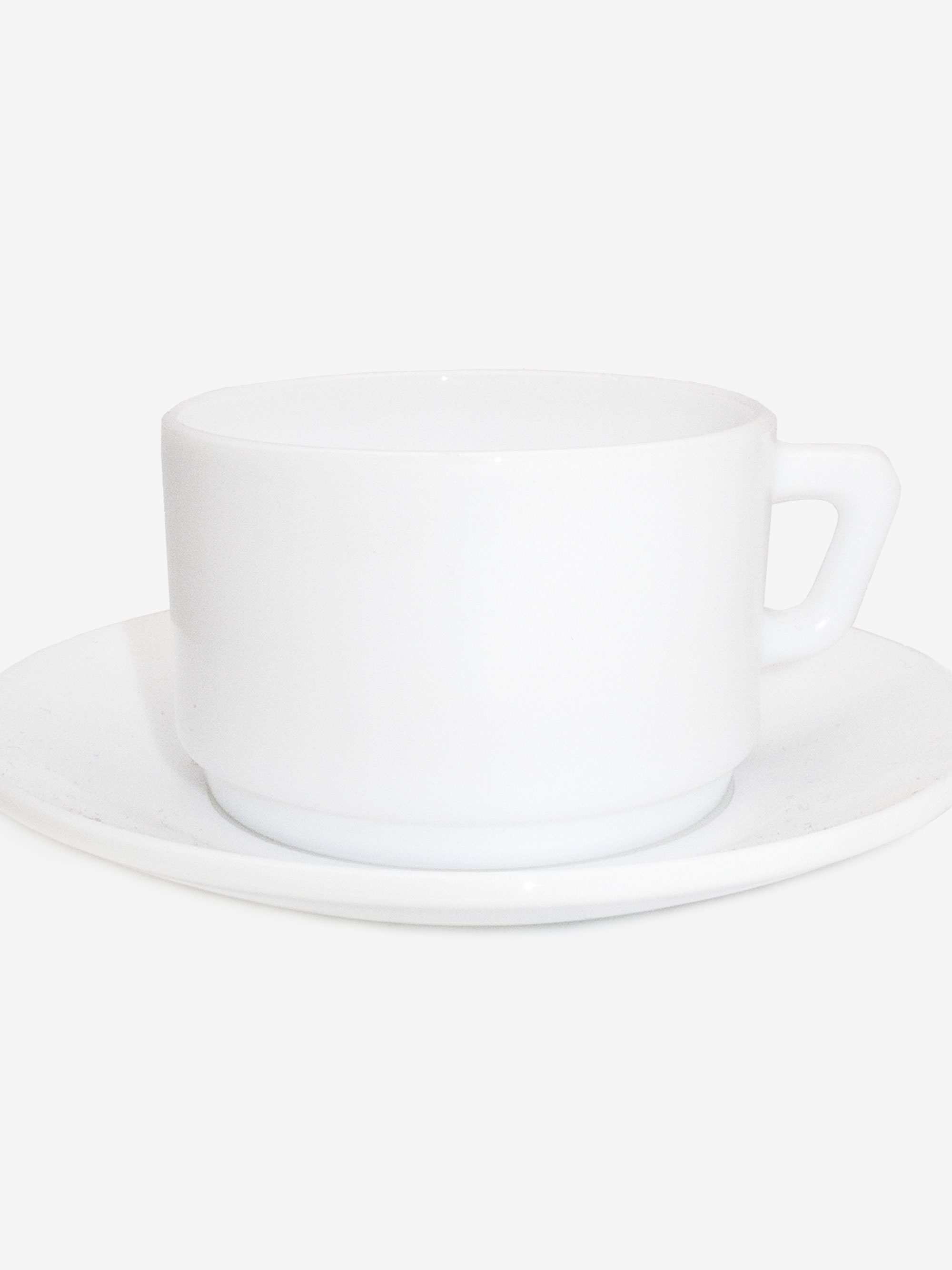 1970s France  Milk Glass Cup and Saucer