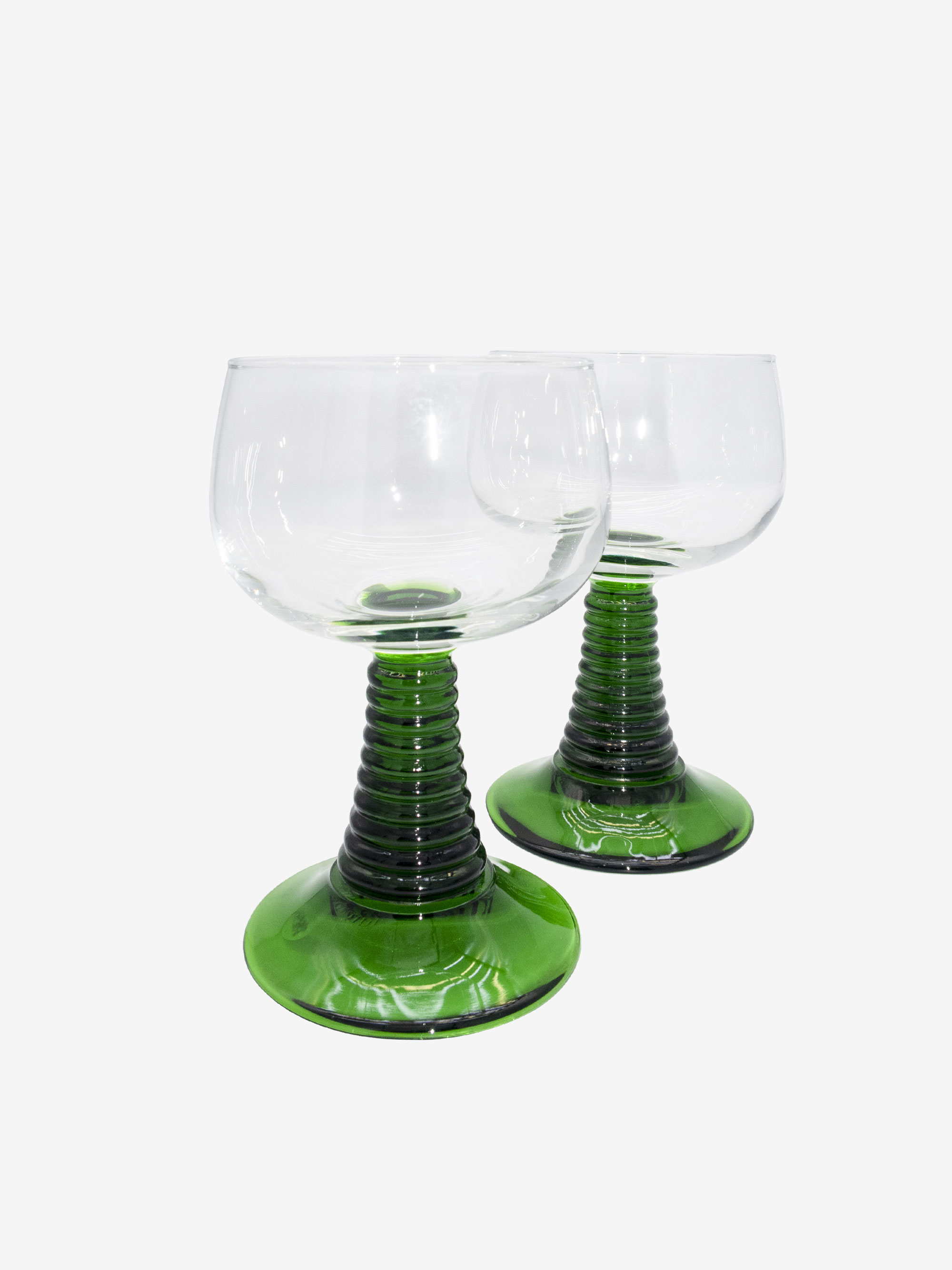 Vintage 1970s  Emerald Green Glass Goblet