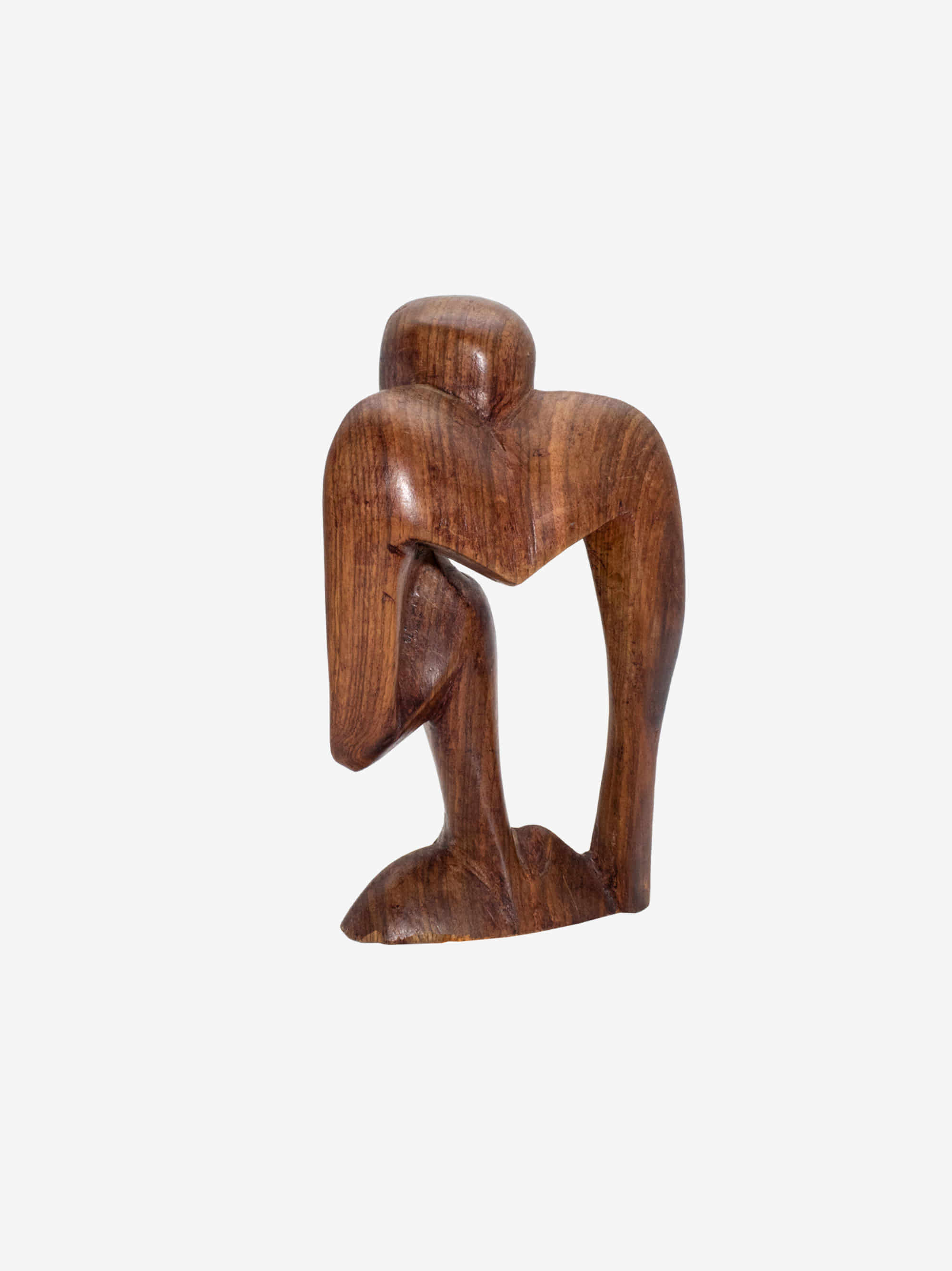 Vintage 1980s  Wooden Thinker Sculpture