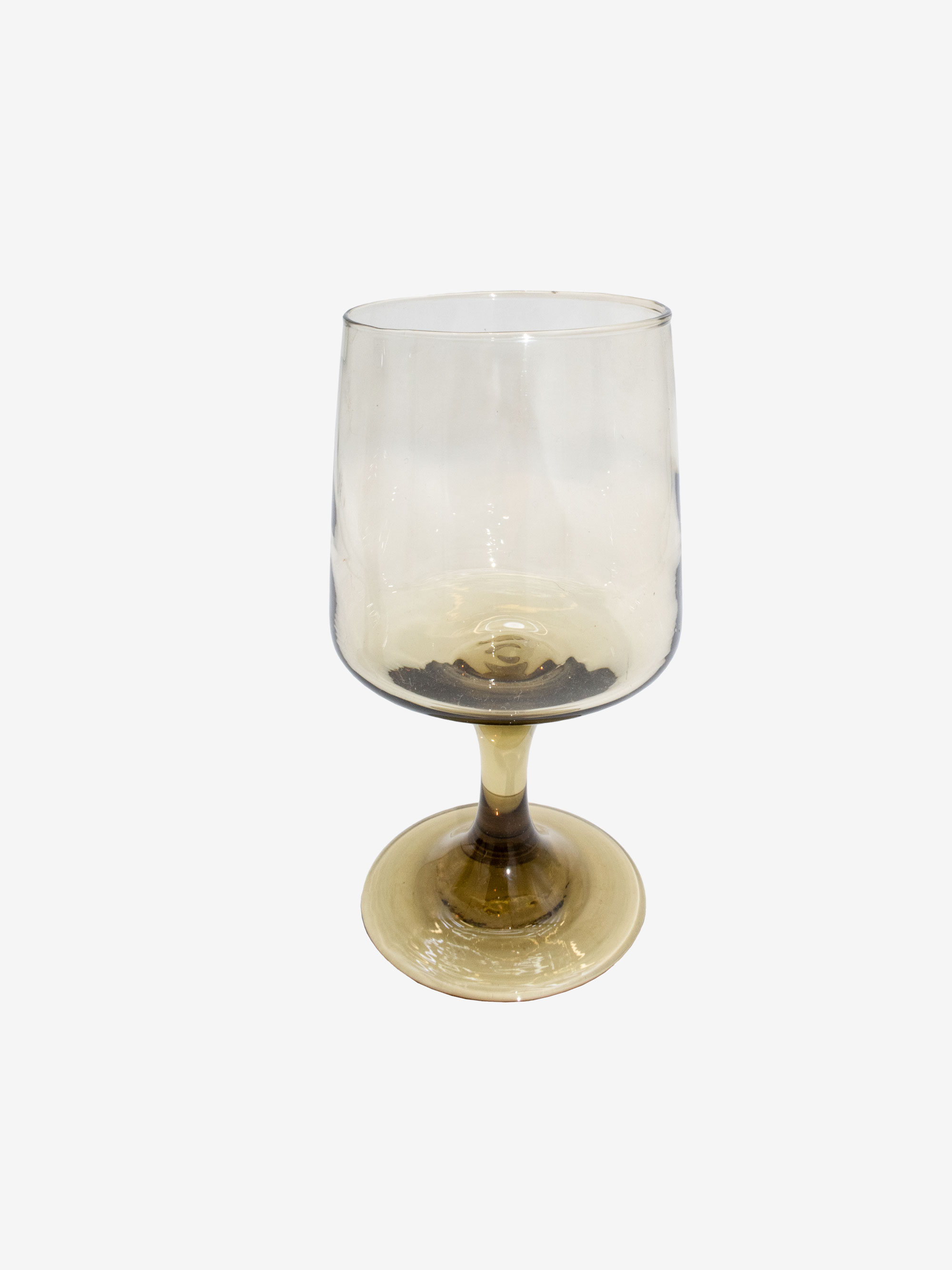 Vintage 1970s  Smoked Wine Glass