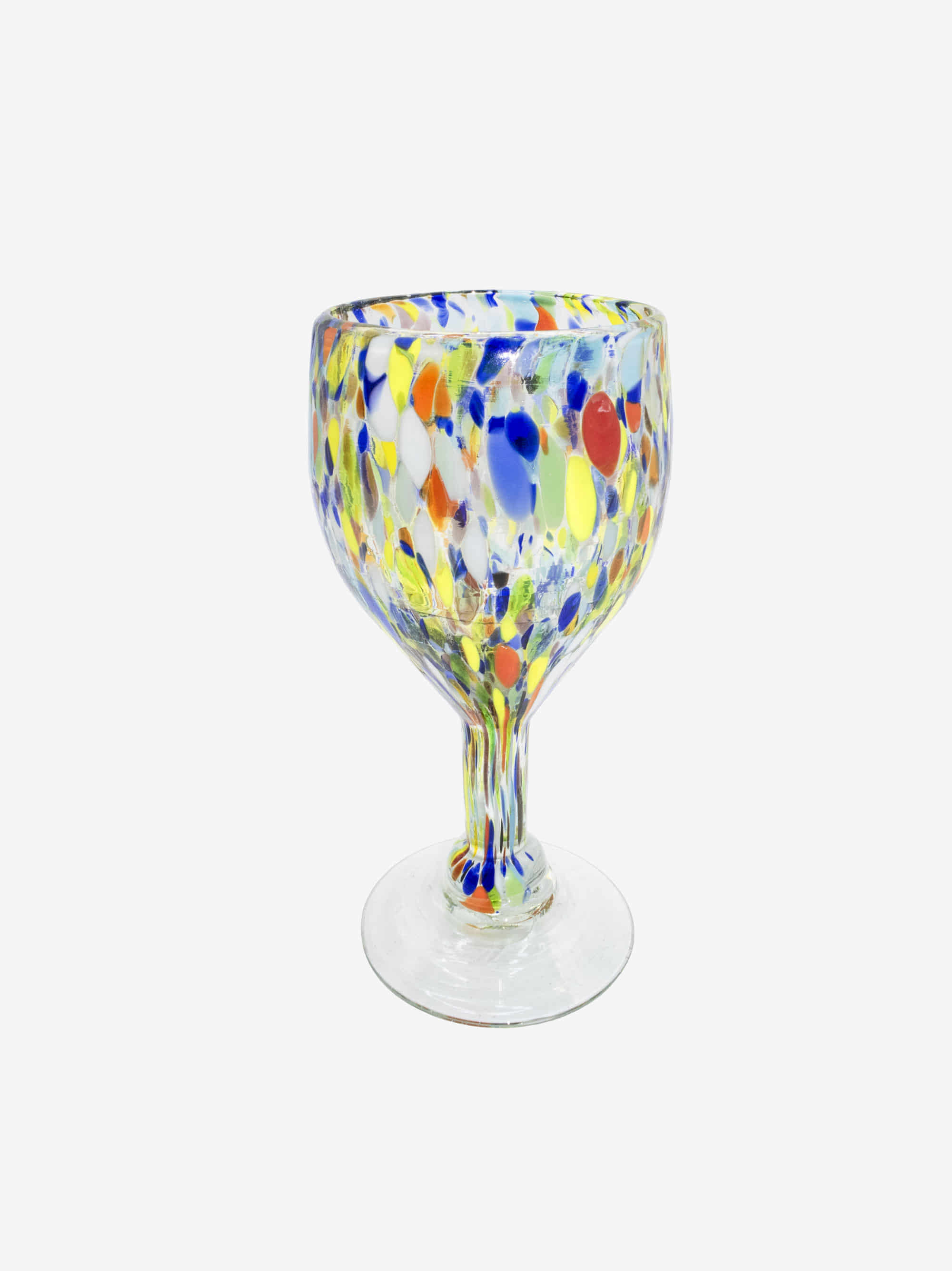 Vintage 1980s  Confetti Art Glass Wine Goblet